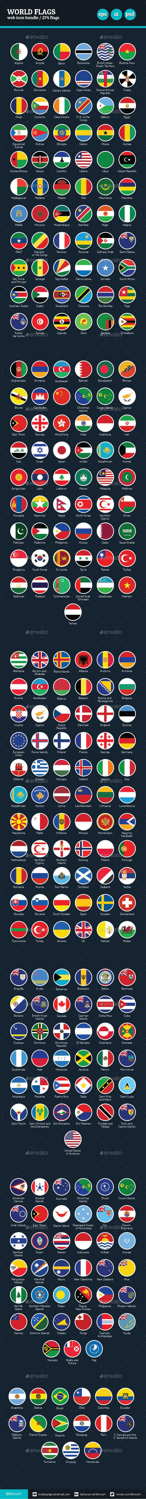 Flags of the World - Vector Icon Bundle - Web Icons