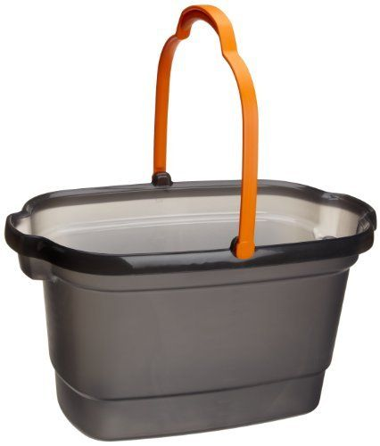 Casabella 4-Gallon Bucket, Graphite by Casabella. $15.98. Casabella 4-gallon bucket in translucent gray with orange handle. Channels in bottom allow dirt to settle, keeping water clean longer. Pour spouts and carrying grips on both ends; comfortable handle; calibrated measuring strip. Patented design nests with Casabella Storage Caddy (model nos. 62441 and 62461); made in the USA. Measures 18-1/2 by 11-3/4 by 10-Inch. Casabella cleaning tools, kitchen and bath accessories and ...