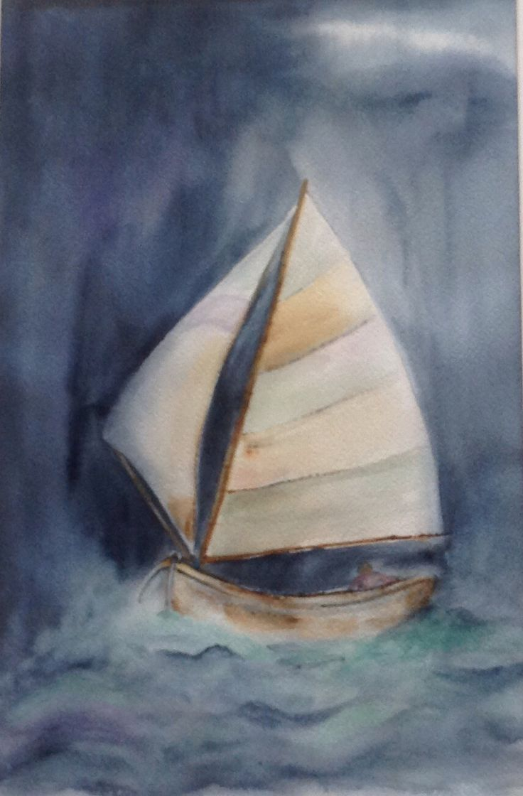 Watercolor 2016, I am sailing, sign by Olavi Alanko