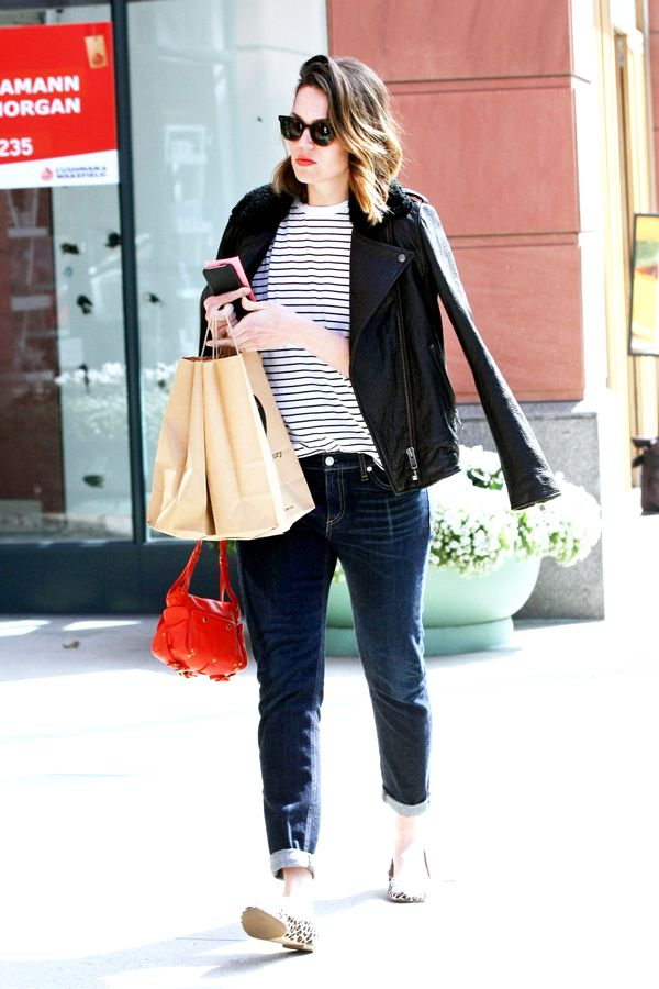 Mandy Moore's Low-Key Outfit Is Perfect For This Weekend #refinery29  http://www.refinery29.com/2015/02/82554/mandy-moore-moto-jacket-outfit#slide-1  Mandy Moore was photographed at Pressed Juicery in a Current/Elliott moto jacket and cuffed boyfriend jeans. She accessorized with leopard flats, a red purse, and, presumably, a whole lot of juice.