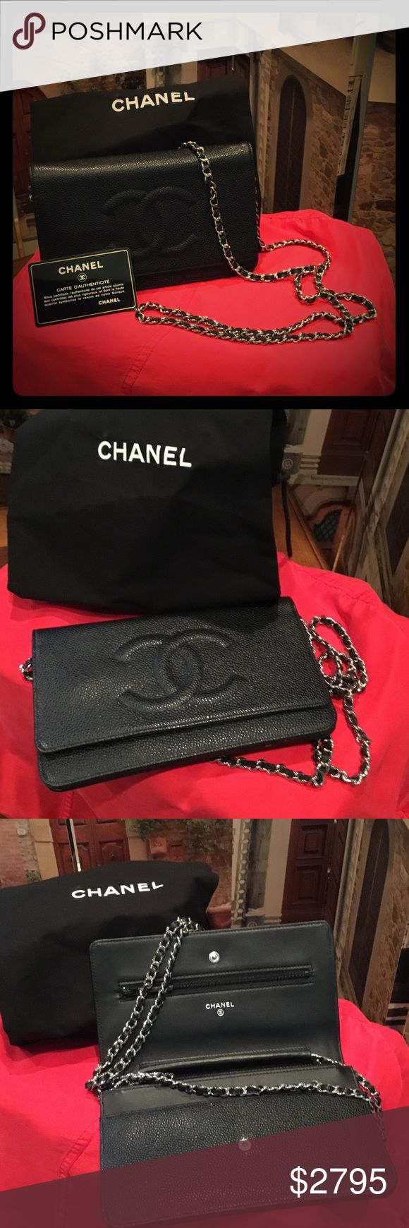 """Chanel Caviar Leather Clutch As seen on Lady Gaga and Jen Garner, exquisite Black Caviar Crossbody, used ONCE. Dust cover and authenticity control number card. Strap approx 24"""". No wear , nearly new! CHANEL Bags Clutches & Wristlets"""