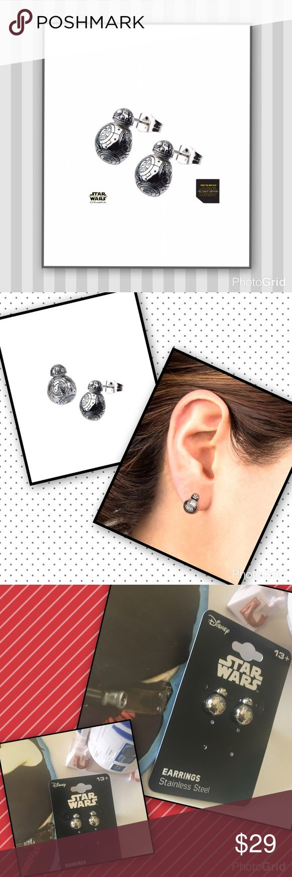 """BB 3-D Earrings You loved the movies now you can carry on through space and time with Star Wars BB-8 3 D stud earrings.  From a galaxy far far away 0.38"""" L stainless steel lob decor. Princess Padme would surly approve! Disney Jewelry Earrings"""