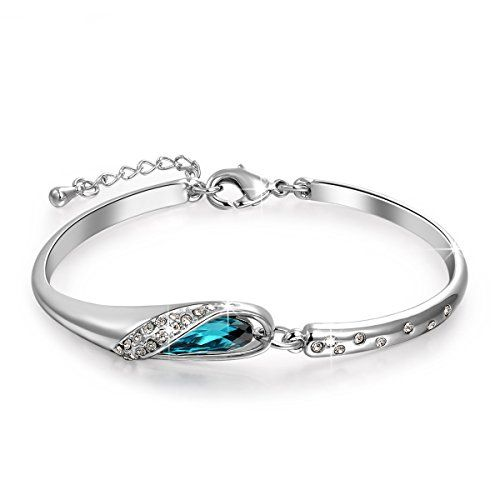 """Qianse *Glass Slipper* 7"""" Bangle Bracelet Made with Blue SWAROVSKI Crystal, Women Fashion Jewelry >>> Click image for more details."""