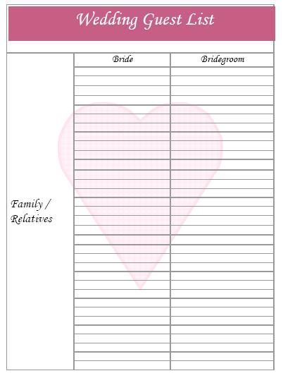 Free Wedding Guest List Template Printable  Ideasidea