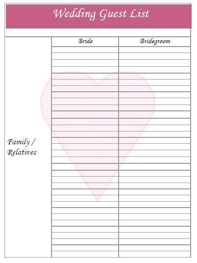 25 best ideas about Wedding guest list – Guest List Template Free