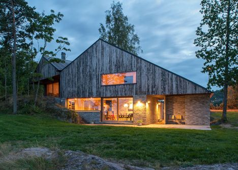 Gabled house overlooking a fjord by Schjelderup Trondahl Architects, near Oslo, Norway.