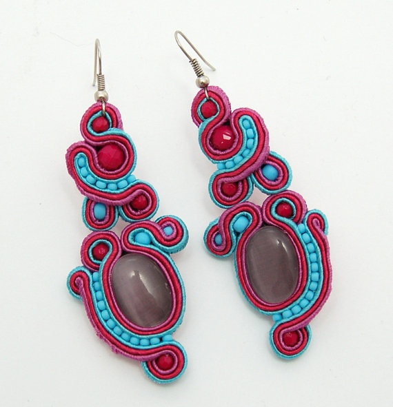 Sweet Energy  handmade soutache earrings by martazare on Etsy, $60.00