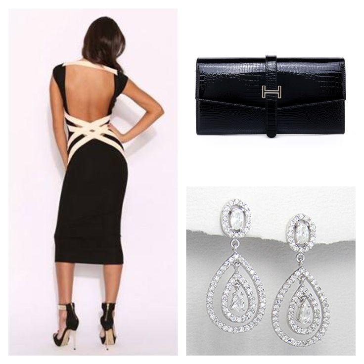 Téa & Elle Leather Clutch & Silver Drop Earrings, Dress from Mummas Angels www.facebook.com/TeaAndElle