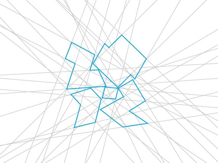 """London 2012 Olympic Logo by Wolff Olins, """"The mark itself came from an energy grid we drew of lines that moved around, contained within a rectangle, which we stopped at one particular moment. This was used in a very random way to create a pattern, so this idea of freeform is right at the heart of the brand."""""""