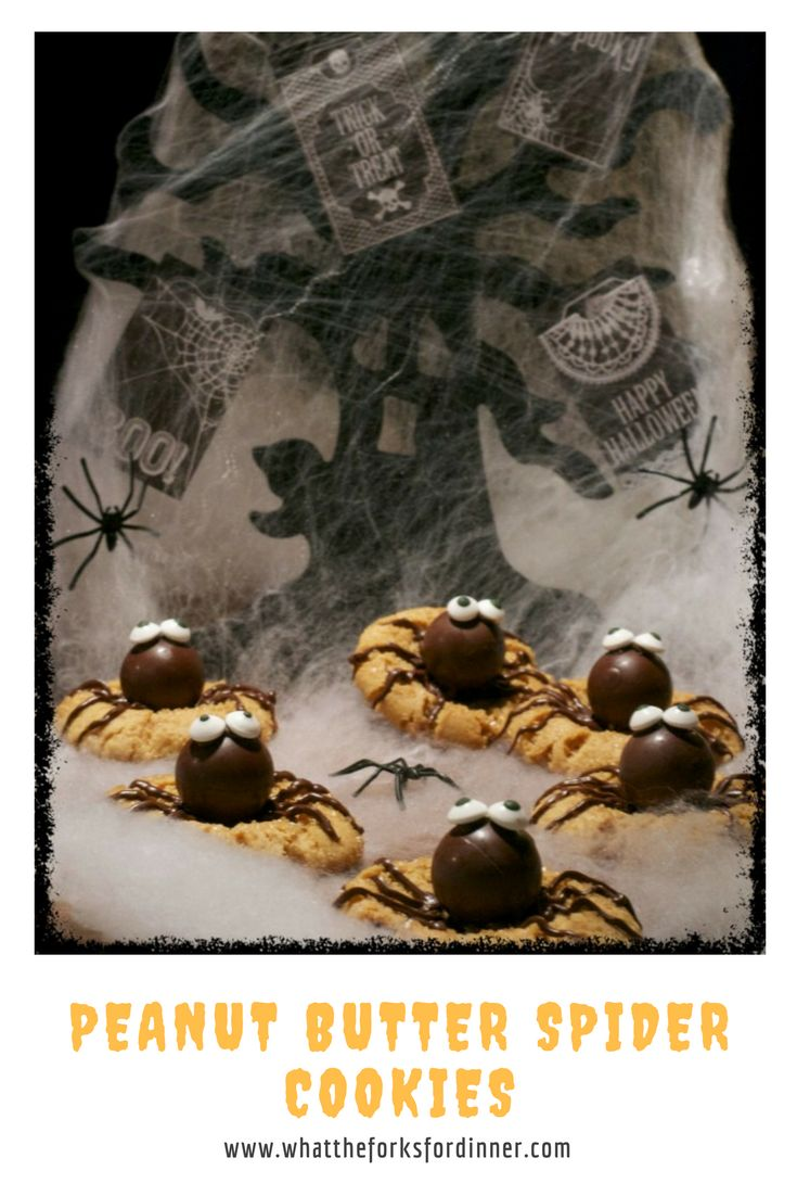 Spooky little spider cookies. Peanut butter cookies with truffle candy ...