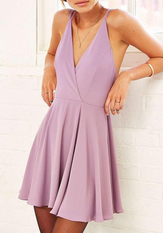937e8b81a33 Purple Plain Condole Belt Cross Back Plunging Neckline Mini Dress ...
