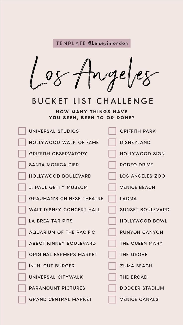 Top things to do in Los Angeles – Los Angeles Bucketlist – Instagram Story Templ