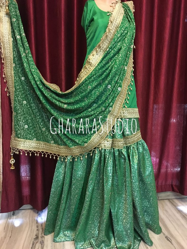 Gharara in Green Kamkhwab with zari embroidery dupatta.   #gharara #ghararastudio #ghararastudiobyshazia #greengharara #kamkhwabgharara #kimkhaab #bridal #wedding #nikah #zari #bridalgharara #embroidery #fashion #instafashion #fashiongram #fashionblogger #fashionblog #fashiondiaries #fashionstyle #fashiongirl #fashionpost #indianfashion #indianwedding #muslimahfashion #greengharara #purekamkhwab