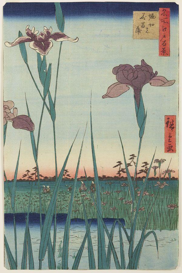 Utagawa Hirioshige (1798-1858), Ogród irysów w Horikiri // Irises garden in Horikiri