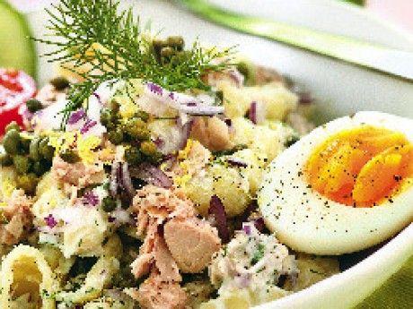 Pastasallad med tonfisk, dill, kapris och ägg