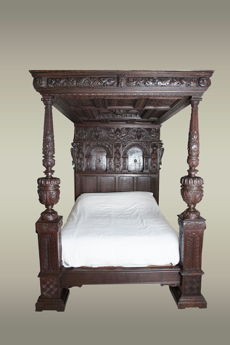 Elizabethan carved oak tester bed, circa 1580. Marhamchurch antiques