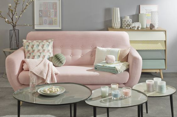 93 best Pink Sofa images on Pinterest | Interior design living room ...