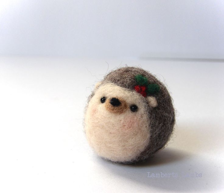 Needle felting Hedgehog with poinsettia flower, small Felted Hedgehog, Hanging ornament decoration by LambertsLambs on Etsy https://www.etsy.com/uk/listing/484425275/needle-felting-hedgehog-with-poinsettia