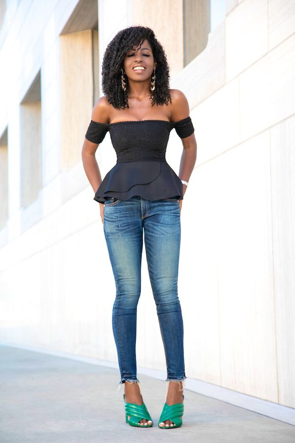 Off Shoulder Peplum Blouse + Cropped Skinny Jeans
