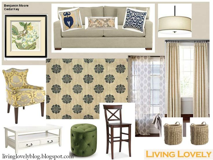 Casual elegance tan blue yellow green neutral living room for Neutral green living room