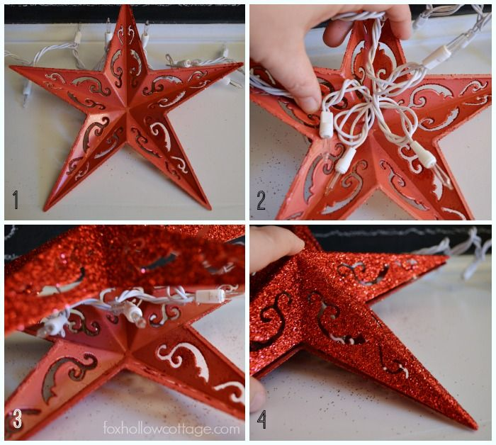 DIY Dollar Tree Christmas Ornament Fancy Sting Twinkle Lights - take two stars fill with lights, glue together.See the after at foxhollowcottage.com - in red, gold and silver.