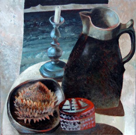 Clive Hicks-Jenkins: 'Tin Candlestick, Trelowarren Pitcher, Rex's Box and Cardoon Seed Head'. 2006