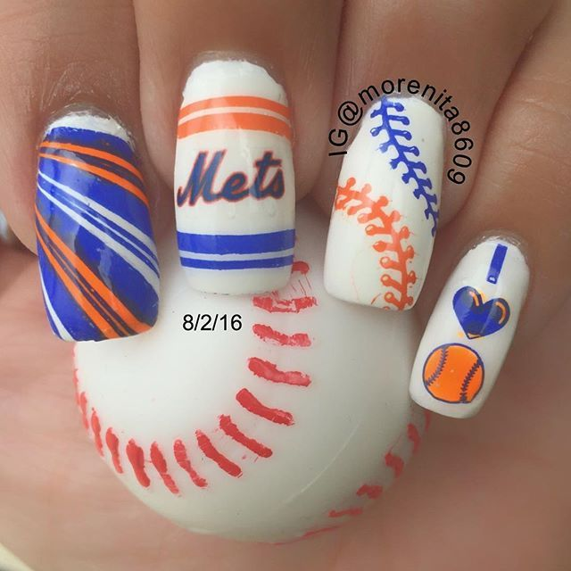 """Went to the stadium last night (Subway Series) Mets vs Yankees ⚾️ Even though we lost I'm still in love with my nails 💙💙 Let's go Mets!!!! For this design I used Milani """"White on spot"""" Plates TU-L024,TU-L010 & BMX-XL183 Stamped with Mundo de Uñas Geranium 53 & Neon Blue 30 #uhnas #nailart #prettynails #nailsoftheday #nymets #nailgasm #nailartwow #esmalte #nailover #nailitdaily #diseñodeuñas #nailstyle #manicura #nailfashion #nailstoinspire #naildaily #nailpolishlover #mynailstoday…"""