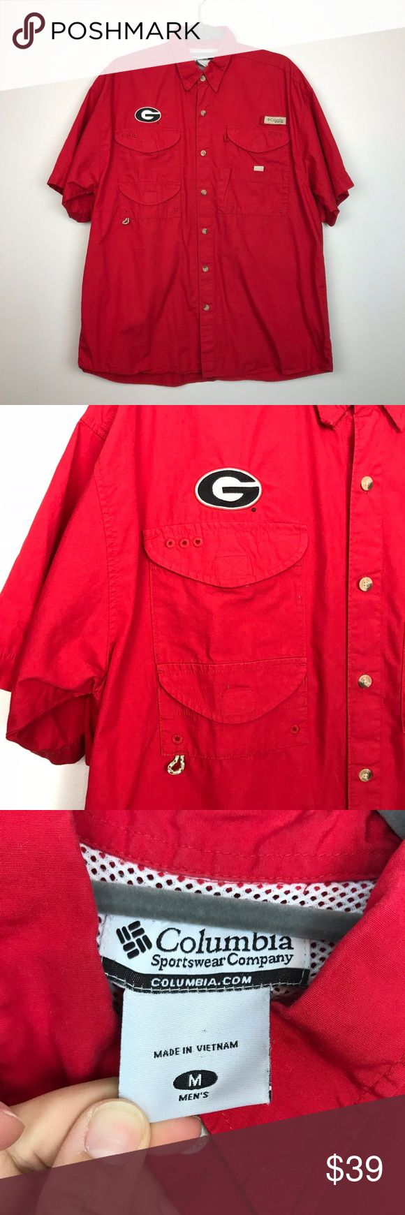 "COLUMBIA {M} Red University of Georgia PFG Shirt COLUMBIA {M} Red University of Georgia Bulldogs PFG Vented Shirt  Size Medium Bust 48"" Length 30"" Measured flat  Excellent condition - no flaws Columbia Shirts Casual Button Down Shirts"