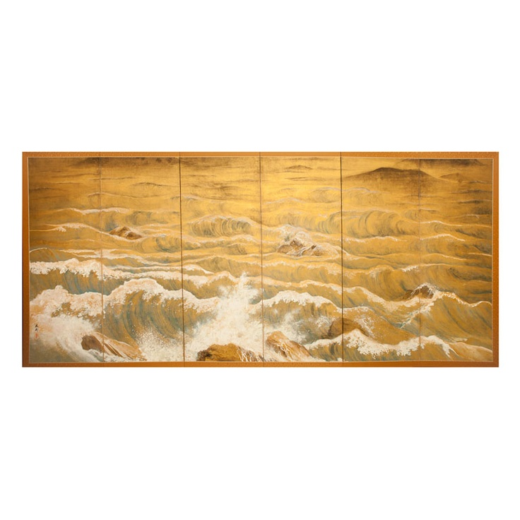Japanese Screen: Rocks and Waves in a Coastal Landscape.
