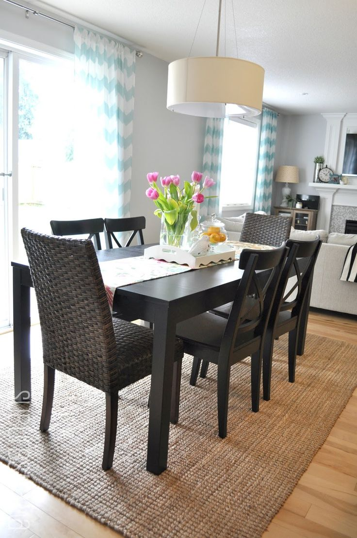 Suburbs mama dining area third times the charm for for Dining room rugs