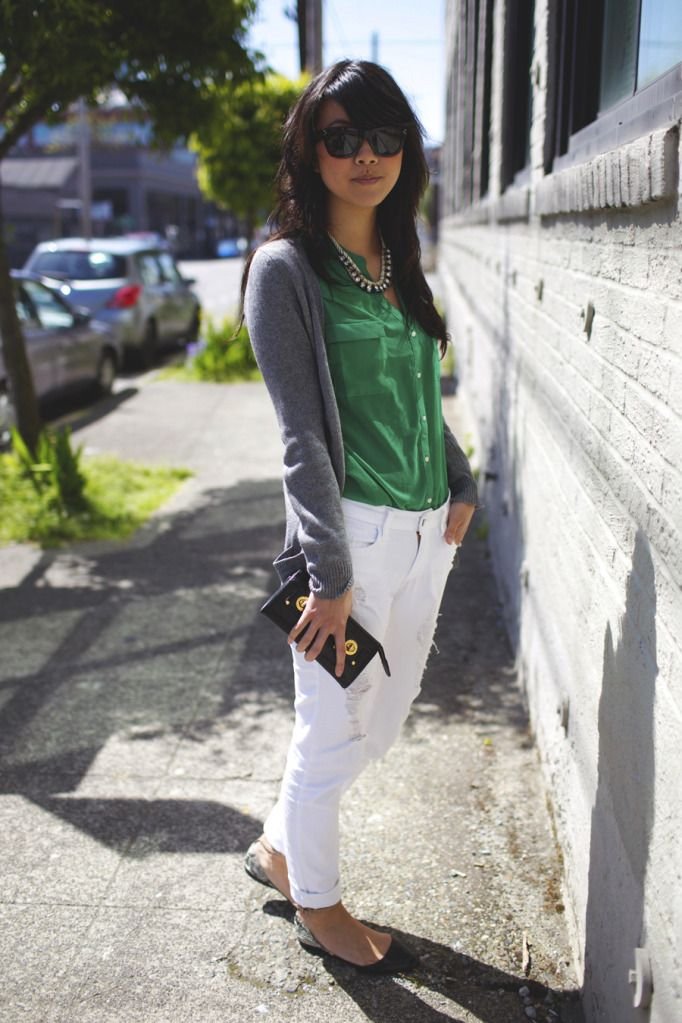 grey cardigan + green top + white pants