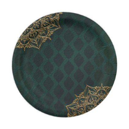 Dark Green & Gold Moroccan Arabian Nights Wedding Paper Plate - glam gifts unique diy special glamour