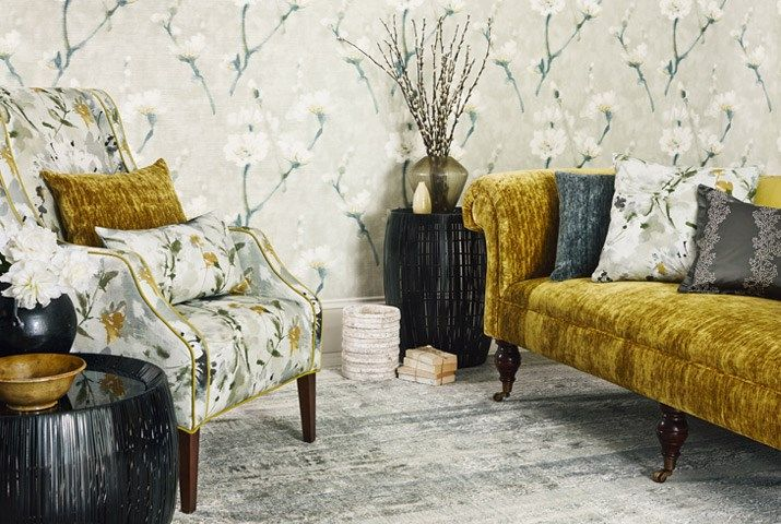 Eleni Wallpaper - Eleni was painted in a similar manner to Simi with loose brush strokes on canvas but has a gentler more restrained style. The design depicts elegant branches of almond blossoms which have been blown up to a large scale and printed on a tonal background.