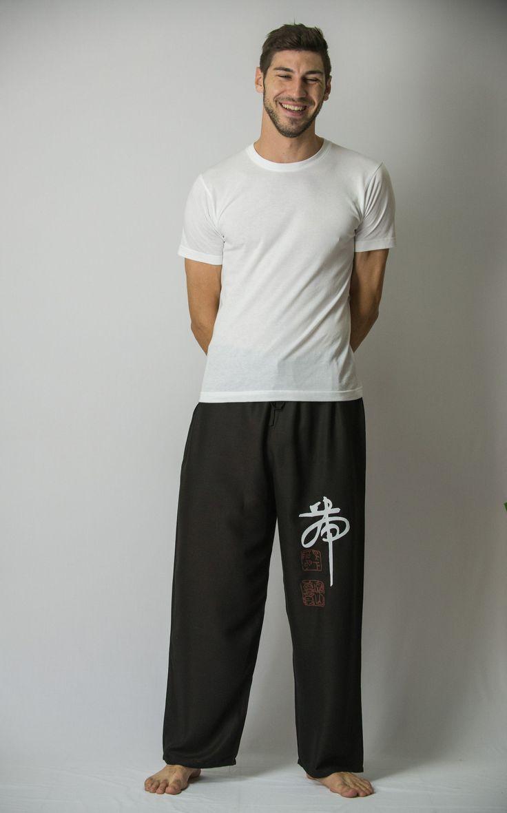 Chinese Writing Men's Thai Yoga Pants in Black