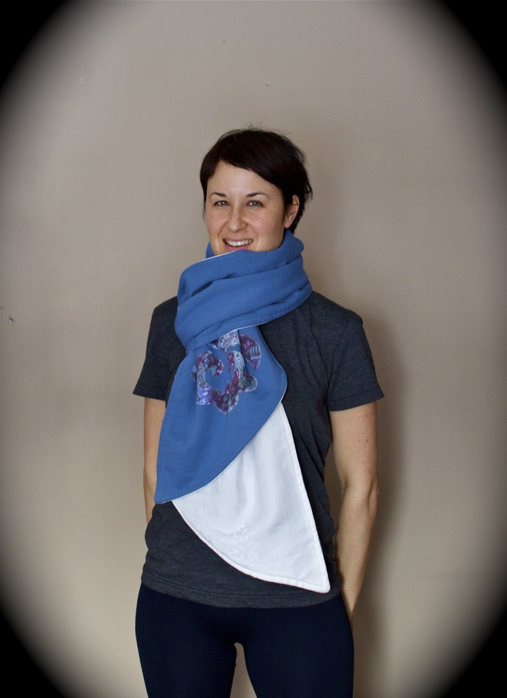 With an attention to detail, Isomi Henry's handmade designs, such as this #blue and #white #scarf, feature repurposed fabrics. See more at Danforth East Arts Fair (#DEAF2012) in Toronto's East Lynn Park.