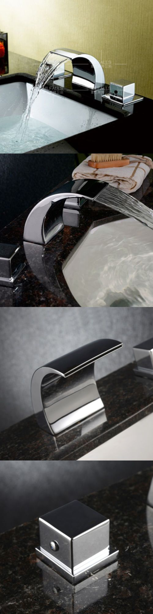Bathroom sink faucet one hole double handle basin mixer tap ebay - Faucets 42024 Bathroom Waterfall Basin Sink Faucet Mixer Tap Chrome Double Handles Widespread