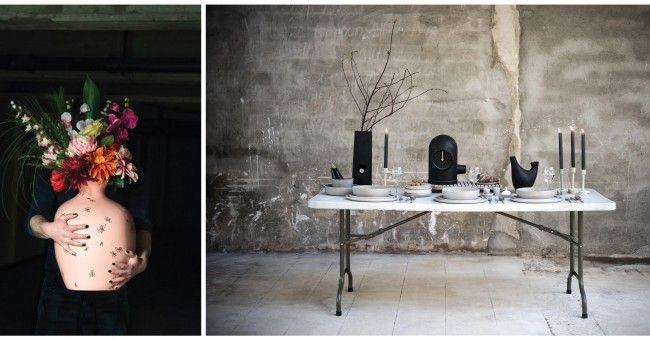 Vaas van Maarten Baas en tafel gedekt met Reclay servies van Charlotte Landsheer, www.corunum-ceramics.nl