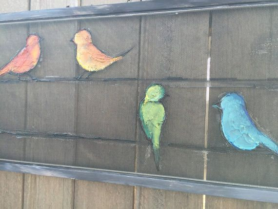 Recycled Window Screen Birds Bird Painting by RebecaFlottArts