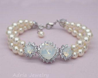 Pulsera de boda Opal, Blanco Opal pulsera, pulseras de perlas, joyería de la boda de Swarovski, pulsera de Dama de honor de ópalo, oro color de rosa