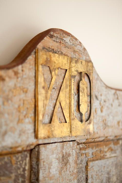 Gilded letters: Ideas, Sweet, Headboards, American Farmhouse, Xo Headboard, Gold, Diy, Bedroom, Rustic Headboard