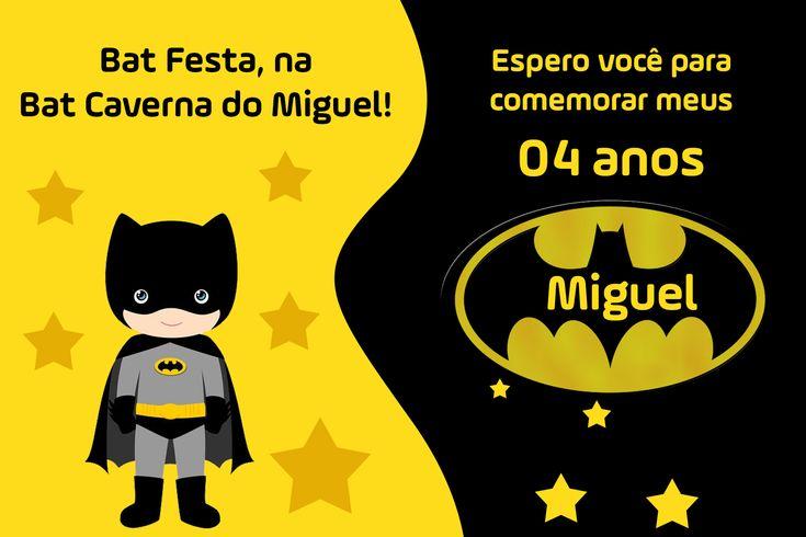 Convite de aniversário batman personalizado para festa infantil.                                                                                                                                                                                 Mais