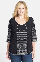 Lucky Brand 'Redondo' Embroidered Top (Plus Size)