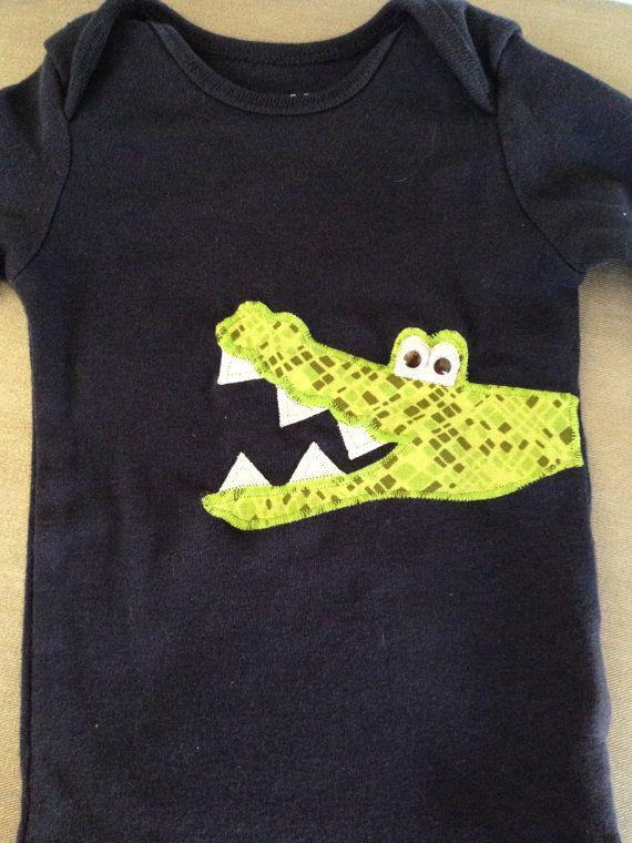 Alligator / Crocodile Applique Onesie / by ThreadOverHeelsByM