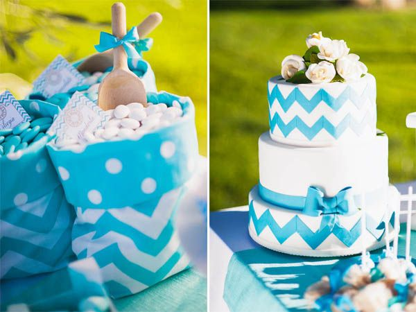 blue chevron wedding cake | apulia wedding inspiration shoot | see more on http://weddingwonderland.it/2014/02/matrimonio-italoamericano-in-puglia.html