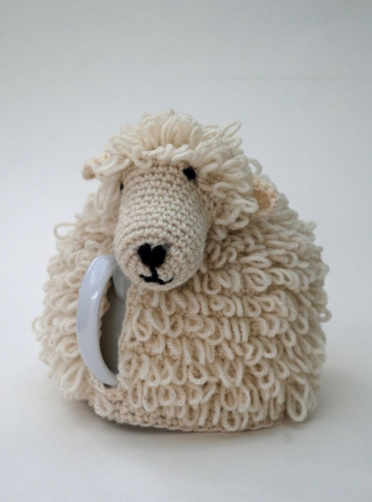 Adorable tea cozy, with or without teapot: Sheep Tea Cosy Crochet Kit on Etsy.