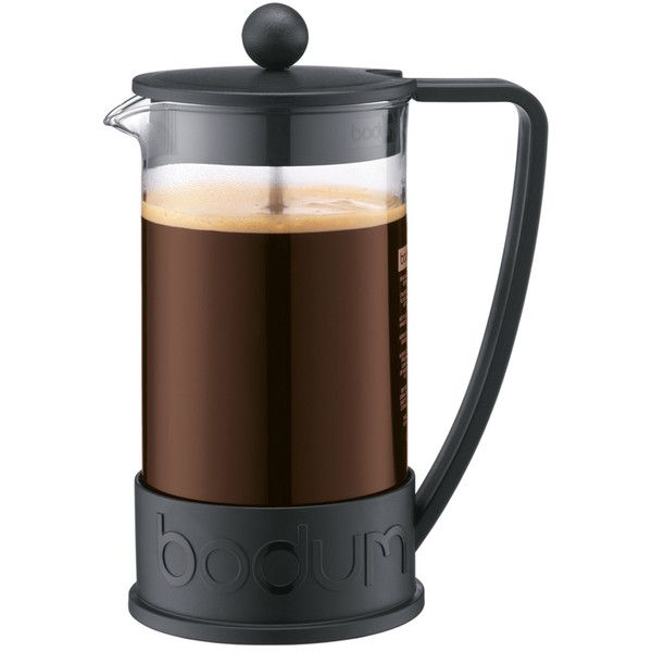 Bodum Brazil 8 Cup French Press Coffee Maker - Black ($38) ❤ liked on Polyvore featuring home, kitchen & dining, kitchen gadgets & tools, bodum coffee press, black coffee maker, bodum, bodum coffee maker and colored coffee makers
