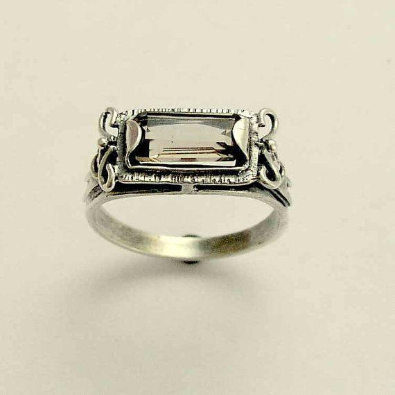 Sterling silver ring smoky quartz gemstone ring by artisanimpact, $64.00