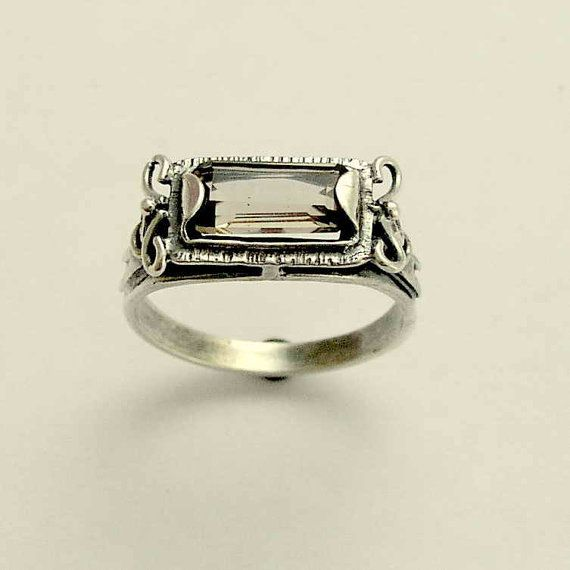 Sterling silver ring with smoky quartz gemstone  by artisanimpact, $64.00