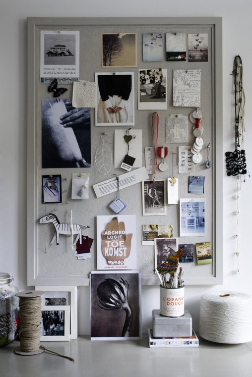Cork board painted to match your space.