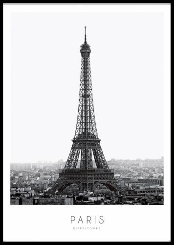 Poster med svartvitt fotografi av eiffeltornet. Tavla med Paris fotografi i svartvitt. Fotokonst. www.desenio.se